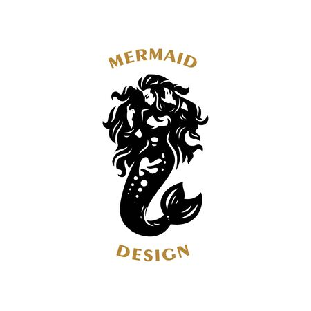 Mermaid with flying hair in the sea. Vector illustration.