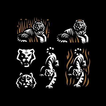 Tiger and tiger head. Stylized Set of vector illustrations.