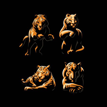 Tigers and tiger cub in different poses. Set of vector illustrations.