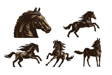 Horse images in classic minimal style.  Set of Vector illustration. Ilustração