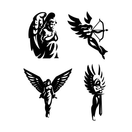 A set of vector illustrations. Woman angel with wings.