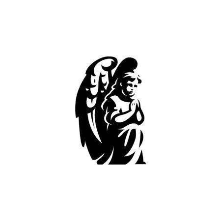 An angel with wings, sitting on his knees, prays. Ilustração