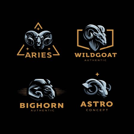 Aries, goat, ram with big horns. Set of vector illustration.