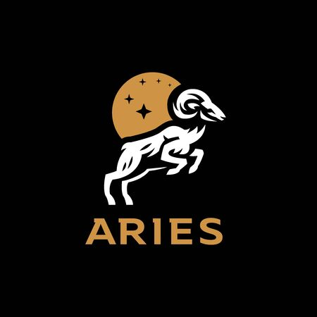 Aries, goat, ram with big horns. Vector illustration.