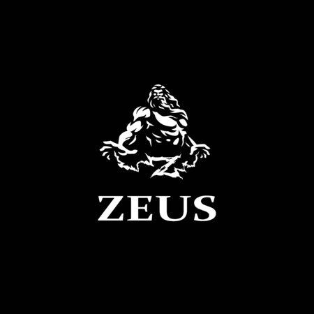 Greek god Zeus. A man with a gray beard. Vector illustration.