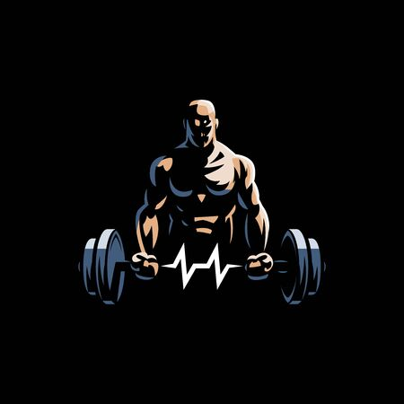 Fitness man holds barbell in his hands and trains biceps. Vulture barbell in the form of heart rate. Vector illustration.