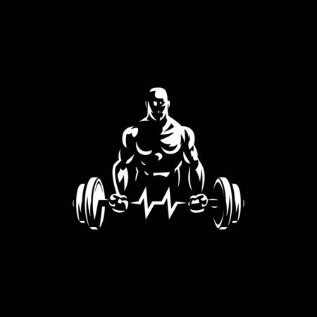 Fitness man holds barbell in his hands and trains biceps. Vulture barbell in the form of heart rate. Vector illustration. 矢量图像