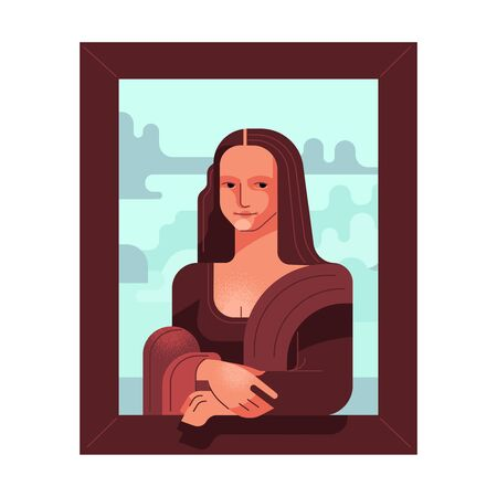Stylized picture of Mona Lisa. Renaissance woman, antiquity. Vector illustration. Ilustração