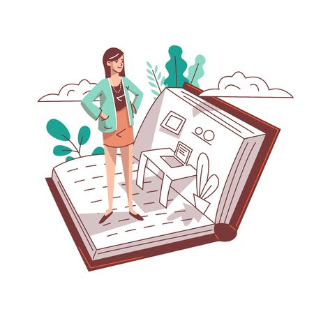 A woman is standing in an open book. From the book stands a workplace, desk, laptop. Vector illustration. Illustration