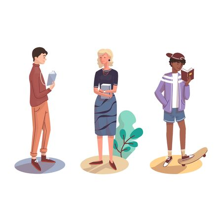 Different People stand with books. Vector illustration.