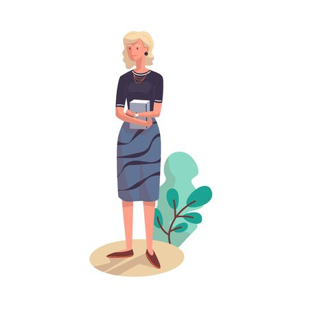 A woman with blond hair stands holding a book with her hands. Vector illustration.