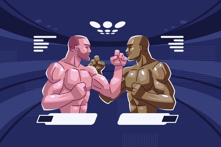 Staredown. Two fighters stand opposite each other in a fighting stance with clenched fists and look into each other's eyes.