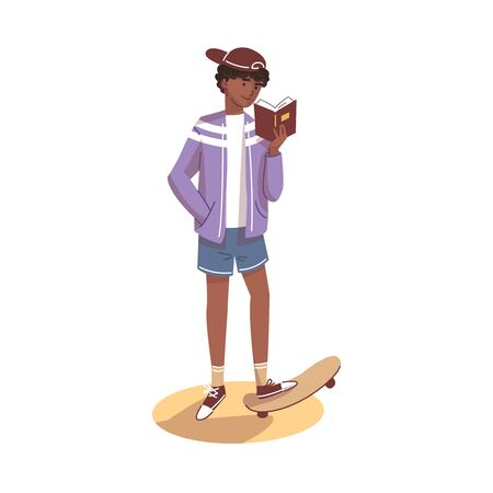 The guy stands with one foot on a skateboard and holds a book in his hands. Letters fly around. Vector illustration. Ilustração