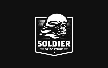 Human skull in a military or motorcycle helmet. Vector illustration.