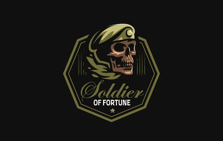 Human skull in a military beret with a cockade. Vector illustration.