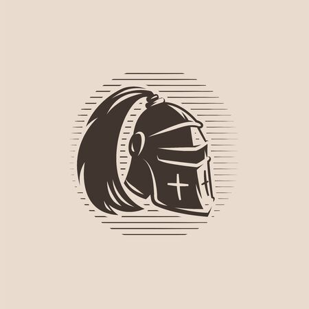 Metal helmet from medieval warrior with ponytail. Knight armour. Vector illustration.