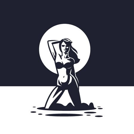 Silhouette of a woman in a swimsuit against the backdrop of the sun on the beach. Kneeling, hair fluttering. Vector illustration