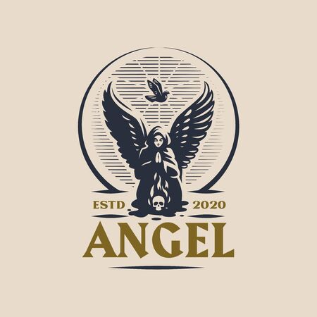 A female angel with wings is praying kneeling in front of a burning skull. From above the soul ascends in the form of a dove. Windy . Ilustração