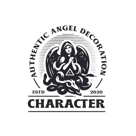 Woman angel in a hood and with wings prays. Below her is the skull of a horned animal, a snake and an all-seeing eye in a triangle. Vector logo.