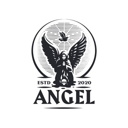 A female angel with wings is praying kneeling in front of a burning skull. From above the soul ascends in the form of a dove. Windy logo. Ilustração