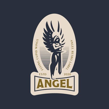 Woman angel in the hood and with wings and a sword in her hands. Angel of the Apocalypse. Vector logo.