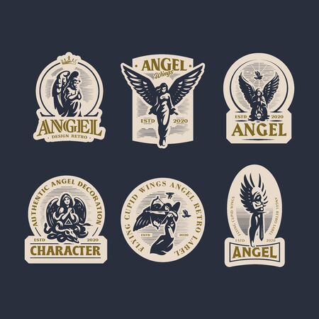 A selection of vintage emblems with women angels.