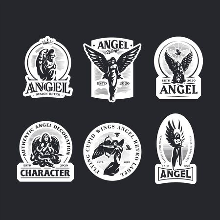 A selection of vintage emblems with women angels. Women in dresses with wings.