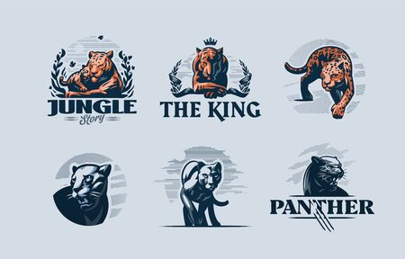 Collection of wild predatory cats. Stylized emblems. Tiger, panther, jaguar, cougar. Vector illustration.
