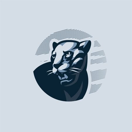 The black panther turns and grimaces, showing fangs, against the sky. Vector illustration
