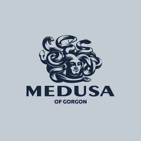 Head of the Gorgon Medusa. Woman's head with snakes instead of hair. Vector illustration.