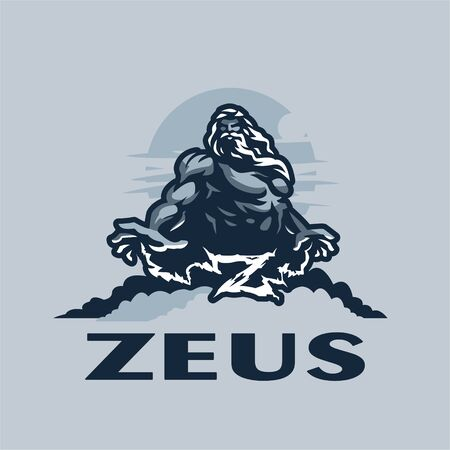Zeus god on a mountain among the clouds, against the sky. Muscular man with a beard and long hair. Lightning comes from the hands, which form the letter Z. Vettoriali