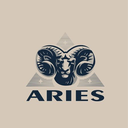 The head of a ram or Aries. Swirling horns, looking gloomy. Back triangle with stars. Zodiac sign.