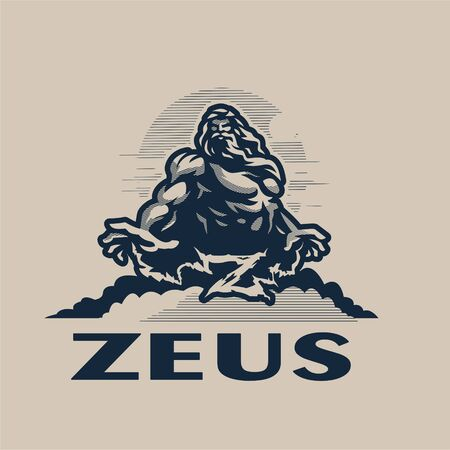 Zeus god on a mountain among the clouds, against the sky. Muscular man with a beard and long hair. Lightning comes from the hands, which form the letter Z.