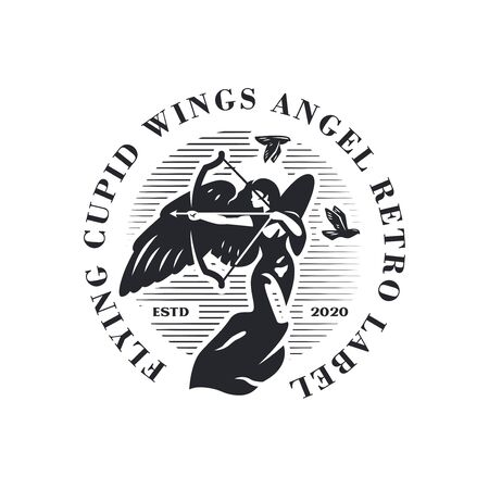 Woman angel with wings shoots an arrow from a bow. Cupid woman. Doves are flying behind. Vector . Ilustração