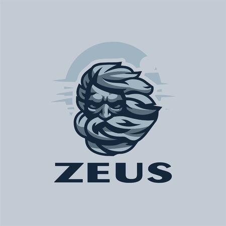 The head of a gloomy old man with long hair and a beard. Against the sky. Zeus head. Vector illustration. Ilustração
