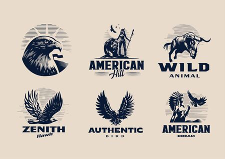 A selection of illustrations, emblems, badges on the American theme. Eagles, birds of prey, indigenous Indians, bull, bear.