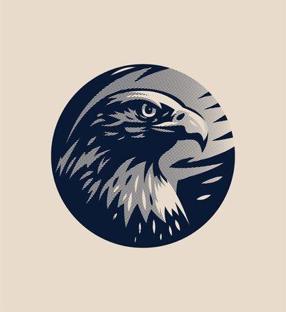 Head of an eagle or hawk, bird of prey, stern look, frown.