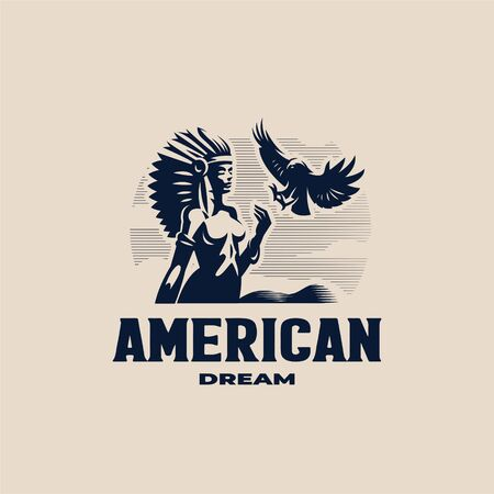 A Native American woman with a feather headdress. Roach on the head. Against the background of the mountain. There is an eagle in the sky. Vector illustration. Ilustração