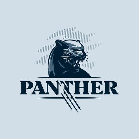 The black, aggressive panther bared its teeth. Vector illustration. Ilustração