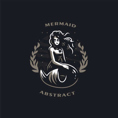 Mermaid. Woman with a fish tail. On the chest is a star. Around algae and bubbles. Black background. Vector illustrations.