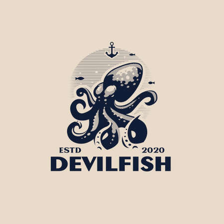 Stylized octopus with tentacles in the sea. Around the fish and the anchor. White background. Vector illustration.