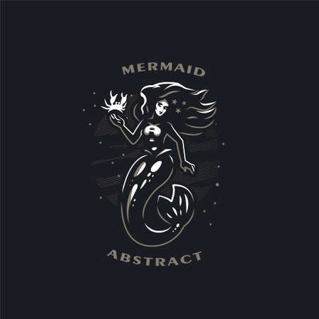 Mermaid with long hair. Woman with a fish tail. Around the sea and bubbles. In the hands of a crab. Starfish in the hair. Black background. Vector illustrations. Ilustração