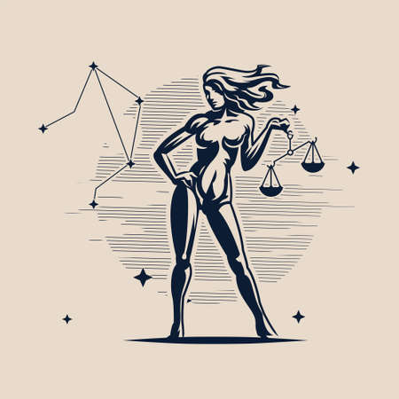Libra. The constellation Libra. A woman is holding a scales. White background. Vector illustration.