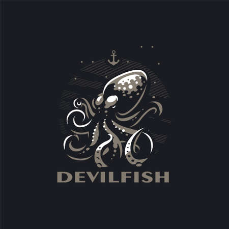 Stylized octopus with tentacles in the sea. Around the bubbles and the anchor. Black background. Vector illustration.