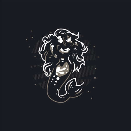 Mermaid with long hair. Woman with a fish tail. Black background. Vector illustrations.