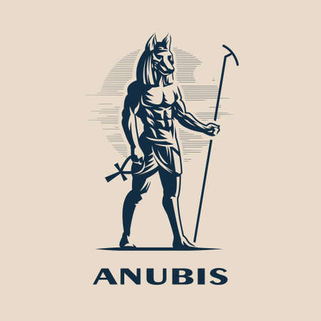 Egyptian god Anubis. A man with the head of a wolf or dog in a traditional Egyptian headdress and with a staff in one hand and an Egyptian ankh cross in the other hand. Vector illustration. 일러스트