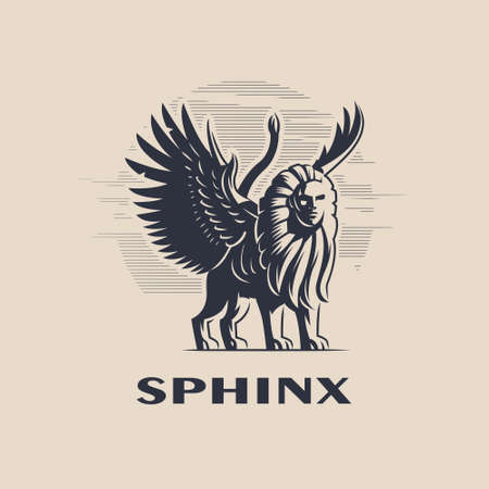 Egyptian mythical creature Sphinx. An animal with the body and tail of a lion, the wings of an eagle and the head of a man. Vector illustration. 일러스트
