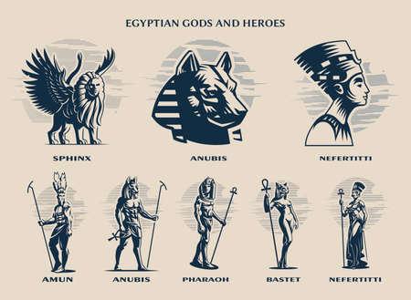 Set of Egyptian Gods and kings. Sphinx, Anubis, Nefertiti, Amon, Pharaoh, Bastet.