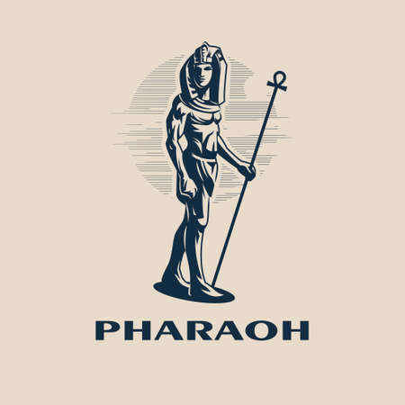 Egyptian ruler Pharaoh. A man is a traditional Egyptian headdress and with a staff in his hand. Vector illustration. Ilustração