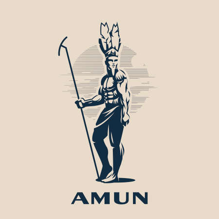 Egyptian god Amon. Egyptian man in a feather headdress and with a staff in his hand. Vector illustration